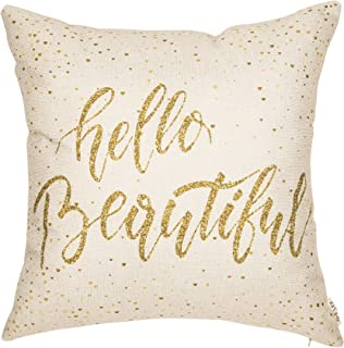 Fjfz Girl Nursery Décor Hello Beautiful Motivational Sign Inspirational Quote Girly Decoration Cotton Linen Home Decorative Throw Pillow Case Cushion Cover for Sofa Couch, 18