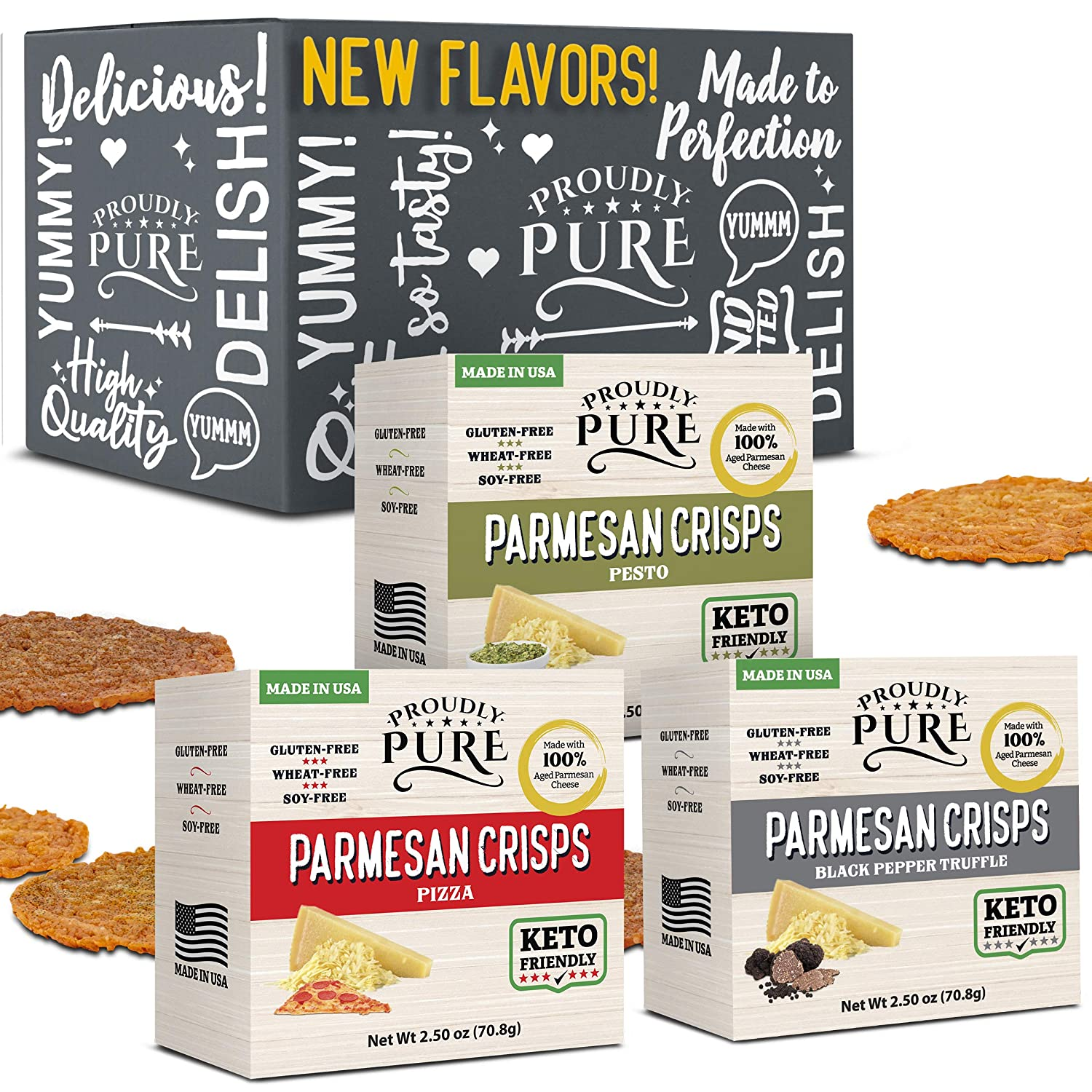 Keto Snacks Salty Parmesan Cheese Crisps Bread (Variety Pack of 3) High Protein Low Carb Crunchy Chips Carnivore Diet Food, Premium Aged Cheese, Zero Sugar | Wheat Soy Gluten Free | Perfect Keto Gift Box