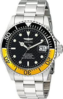 Invicta Mens 15587 Pro Diver Stainless Steel Automatic Watch with Black and Yellow Bezel
