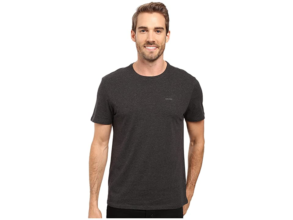 Calvin Klein Short Sleeve Pima Cotton Crew T-Shirt (Gunmetal Heather) Men's T Shirt, Gray