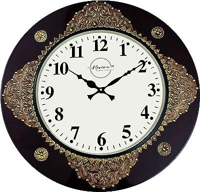 Merira Brown & Gold MDF Wood & Brass Metal Round Glossy Vintage Antique Vintage Wall Clock (18 X 18 Inches_MRAWAT18048)