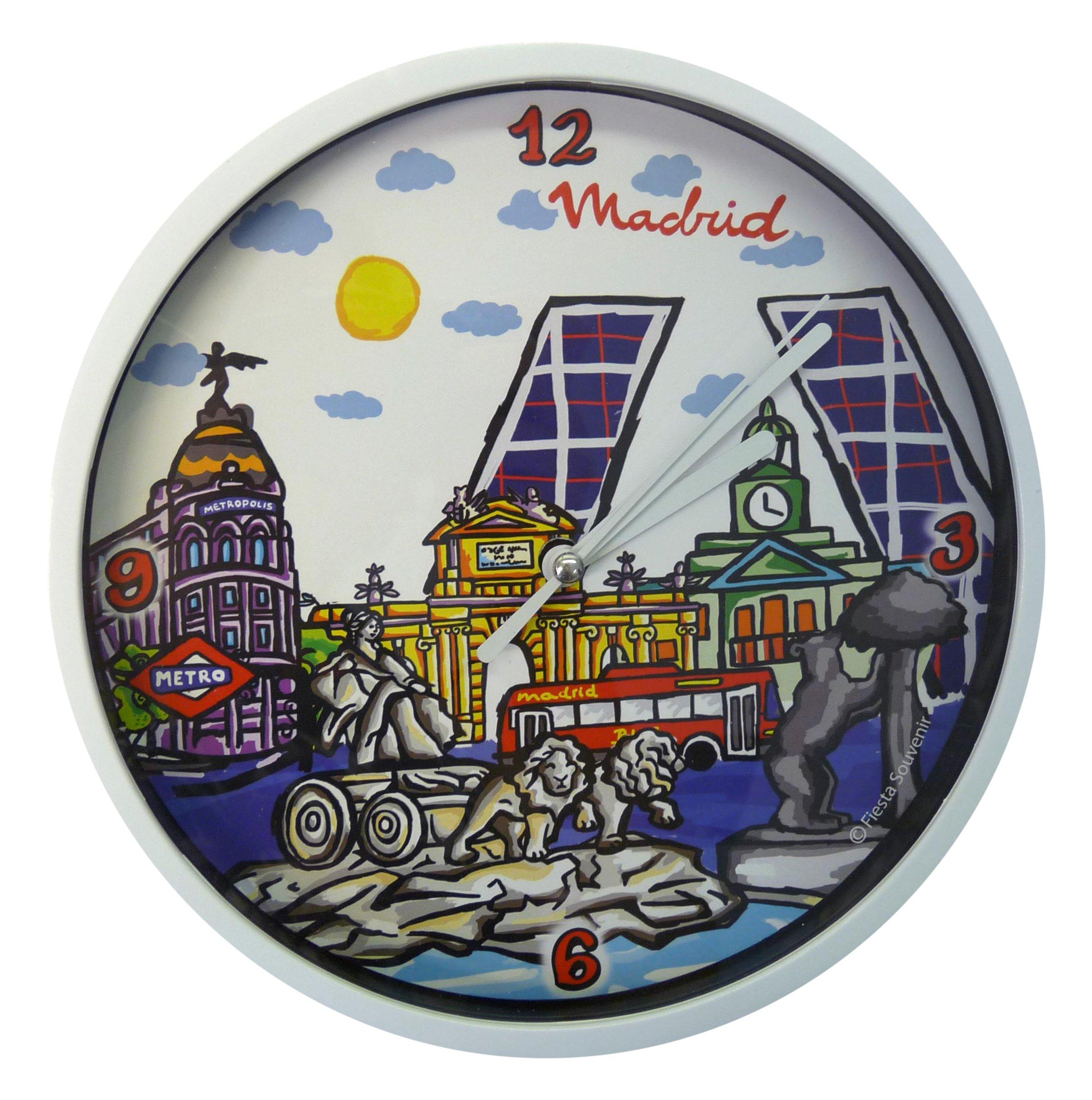 Nadal Reloj Mediano Monumentos Madrid, Multicolor, 20 x 20 x 3,45 ...
