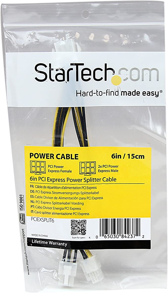 Startech Com 6in Lp4 To 6 Pin Pci Express Video Card Power Cable Adapter Power Adapter 4 Pin Internal Power M To 6 Pin Pcie Power M 6 In Lp4pciexadap Amazon Ca Computers Tablets