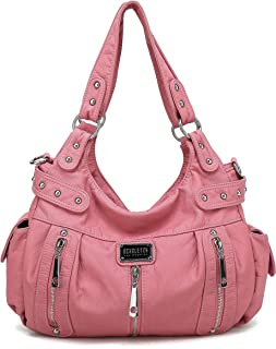 Satchel Handbag for Women, Ultra Soft Washed Vegan Leather Crossbody Bag, Shoulder Bag, Tote Purse, H1292