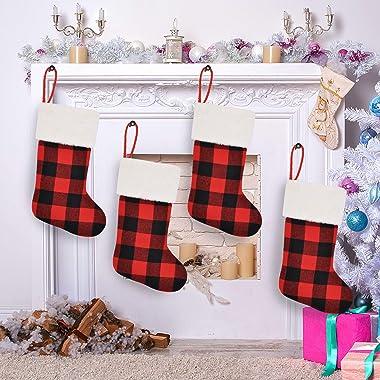 "JOYIN 18"" Buffalo Plaid Christmas Stockings, 4 Pcs Christmas Stocking, Xmas Fireplace Hanging Stockings for DIY Christmas"