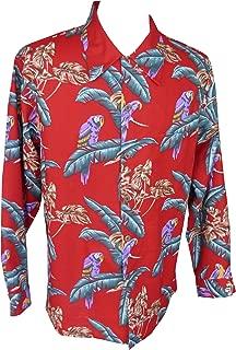 Paradise Found Mens Jungle Bird Kamehameha Style Long Sleeve Shirt