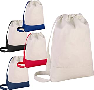 Pack of 12 - Durable Canvas Backpack Bags Two Tone Canvas Sport Promotional Backpacks Bulk - Arts and Crafts Backpacks Sack packs with Adjustable Straps Wholesale Drawstring Bags (Mix-Assorted)