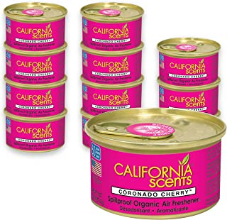 California Scents Spillproof Can Air Freshener Eco-Friendly Odor Neutralizer for Home, Car, Much More, Coronado Cherry, 1.5 oz, 12 Pack
