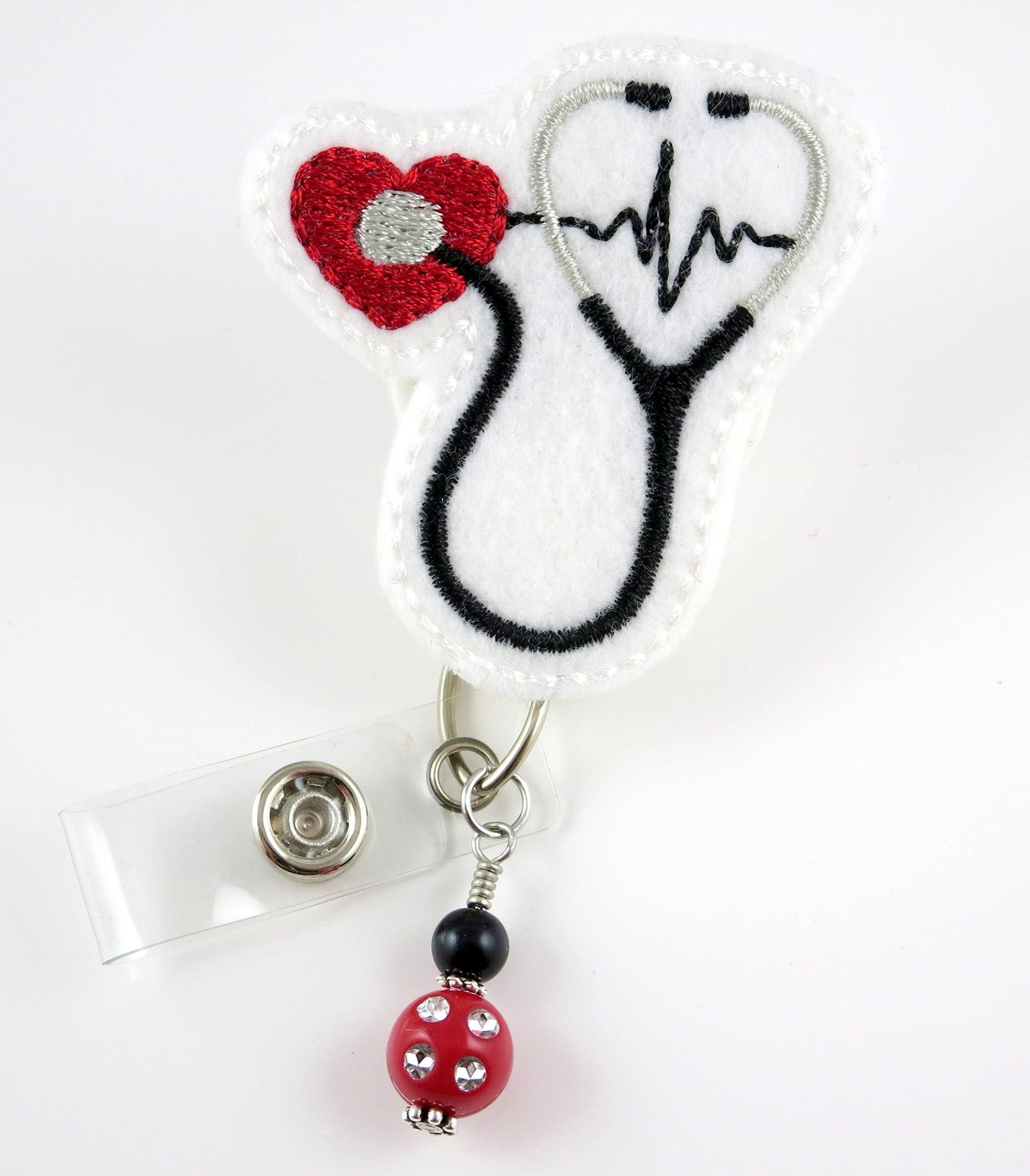 ID Badge Holder Nursing Student Gift Stethoscope Id Tag Carabiner Lanyard Badge Reel Little Mermaid Retractable Badge Holder