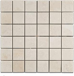 White Pearl / Botticino Marble 2 X 2 Polished Mosaic Tile - 6