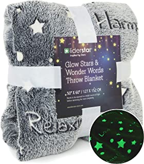 Glow in The Dark Throw Blanket ,Super Soft Fuzzy Fluffy Plush Fleece,Decorated with Stars and Words of Healing,Wrap Your Loved One in Positivity Birthday Gift for Girls women kids Teens, Gray .