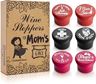 Mom Life Wine Stoppers, Set of 6 – Funny, Cute Novelty Gift for Mom – Food Grade Silicone Rubber Tight Seal Covers, Decorative Cap Labels, Unique Bottle Markers
