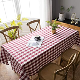 Aquazolax Red and White Gingham Plaid Table Cloth Decorative Checkered Table Cover for 6 Foot Rectangle Table, 60