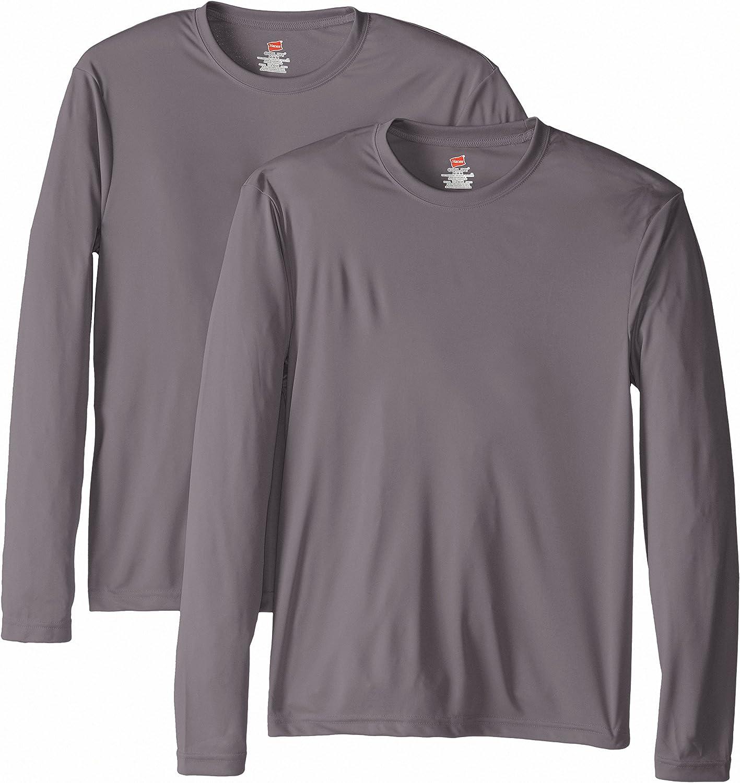 Hanes Mens Long Sleeve Cool Dri T-Shirt UPF 50+ Pack of 2