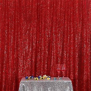 Poise3EHome Pailletten Fotografie Hintergrund Vorhang für Party Dekoration, rot, 8x8 ft