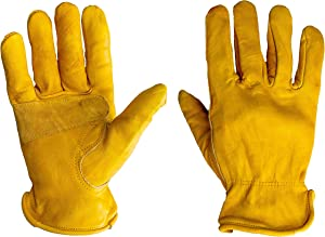 G & F Products 6203L-3 Premium Genuine Grain Cowhide Leathers with Reinforced Patch Palm, Work Gloves, Drivers Glove 3-Pair, Large, Yellow