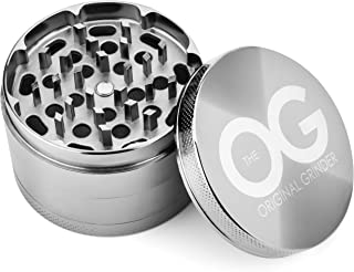 The OG [Re-Designed] Best Spice Herb Grinder with Pollen Catcher (2.5 Inch) Herbal   Compact Kitchen Cooking Accessory   Metal, Ultra-Sharp Grinding Teeth