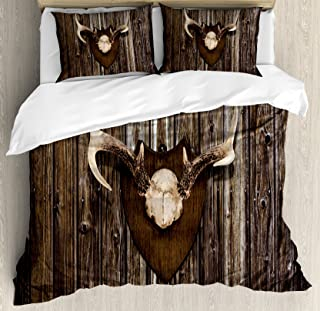 Ambesonne Antler Decor Duvet Cover Set Queen Size, Rustic Home Cottage Cabin Wall with Antlers Hunting Lodge Country House Trophy, Decorative 3 Piece Bedding Set with 2 Pillow Shams, Brown