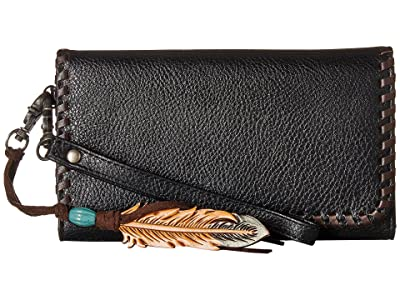 M&F Western Tegan Clutch (Black/Tan) Clutch Handbags