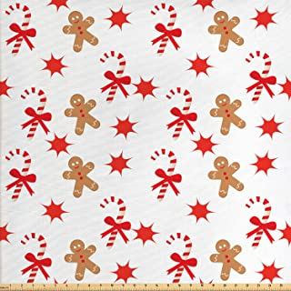 Ambesonne Gingerbread Man Fabric by The Yard, Candy Cane with Bowties Red Star Gingerbread Man Pattern, Decorative Fabric for Upholstery and Home Accents, 1 Yard, Brown Orange