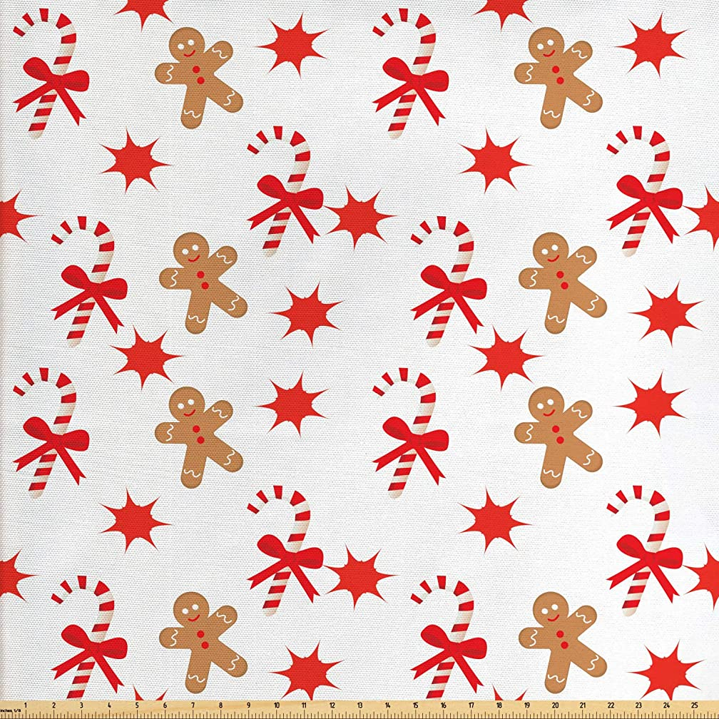 Ambesonne Gingerbread Man Fabric by The Yard, Candy Cane with Bowties Red Star Figures Gingerbread Man Pattern, Decorative Fabric for Upholstery and Home Accents, 1 Yard, Sand Brown Orange
