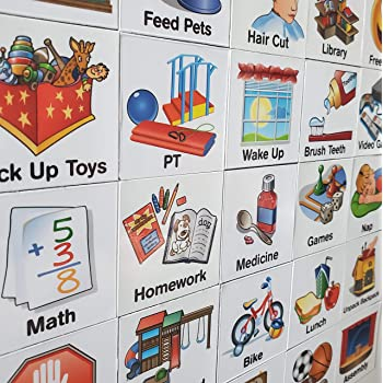 SchKIDules Visual Schedule For Kids 153 Pc Deluxe Magnet Collection Box Set 132 Magnetic Activity Icons & 21 Headings...