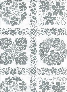 American Plastics ビニールテーブルクロス グレーとホワイト 花柄デザイン フランネルバック テーブルカバー 52 x 70 Rectangle グレー