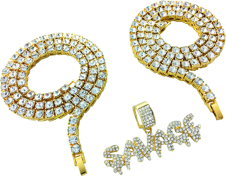 CZ Diamond Double Tennis Chain Set with SAVAGE Pendant - Gold
