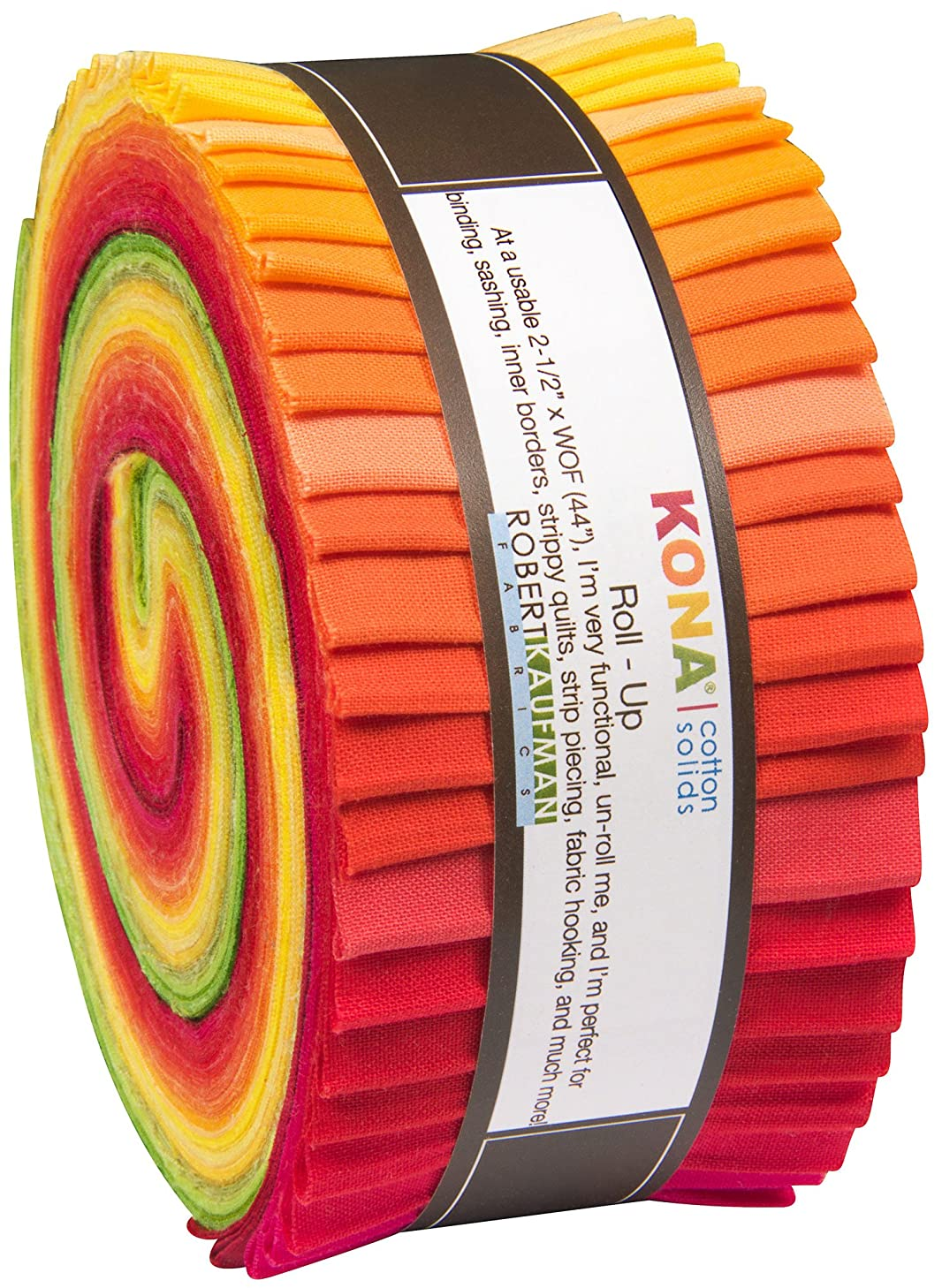 Christa Watson Kona Cotton Solids Designer Palette Series Roll Up 40 2.5-inch Strips Jelly Roll Robert Kaufman Fabrics RU-485-40