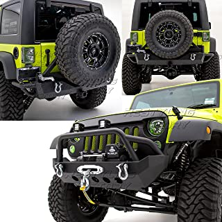 Restyling Factory -Rock Crawler Front Bumper w/Winch Plate+Rear Bumper with Tire Carrier and 2