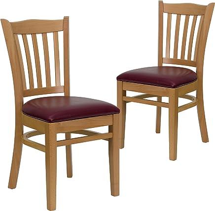 Flash Furniture XU-DGW0008VRT-NAT-BURV-GG Hercules Series Natural Wood Finished Vertical Slat Back Wooden Restaurant Chair with Burgundy Vinyl Seat
