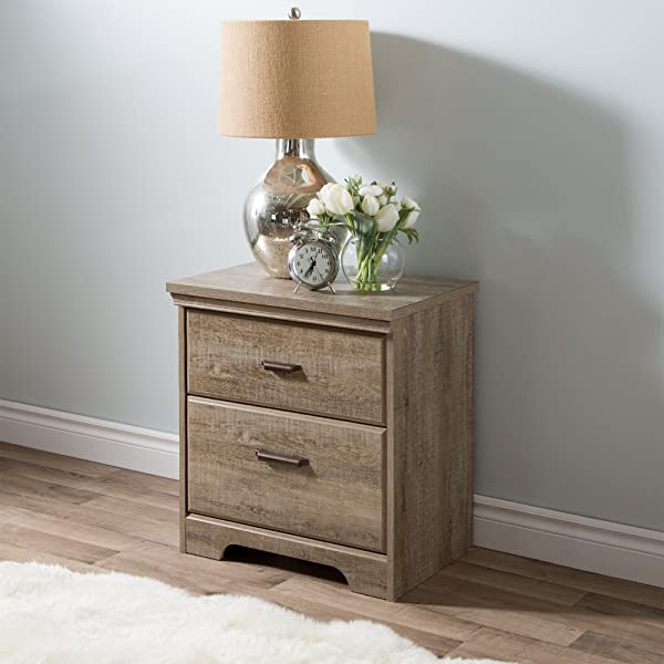 South Shore Versa 2 Drawer Nightstand Weathered Oak With Antique Handles