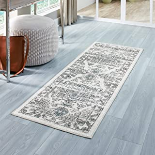 Maples Rugs Distressed Tapestry Vintage Non Slip Runner Rug For Hallway Entry Way Floor Carpet [Made in USA], 2 x 6, Neutral