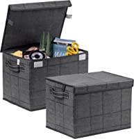 MAOGONG Storage Bins with Lids Collapsible Fabric Bins Storage Cubes with Handles for Home Closet Office Nursery Collapsible Storage Containers with Lid 2 Pack Storage Basket with Lids