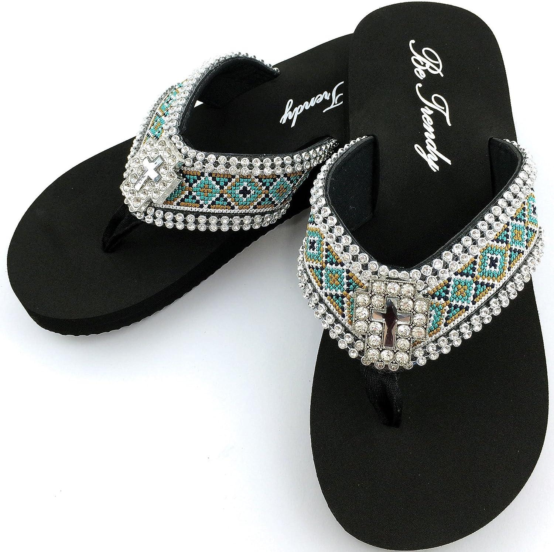 Western Peak Women's Aztec Design Full Rhinestones Cross Concho Diamond Black Brown Turquoise Flip Flop Sandals
