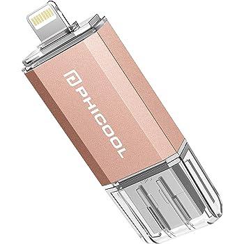 PHICOOL フラッシュドライブ USB メモリー 32GB/128GB iPhone PC Android 3in1 専用アプリ OTG Type- C 変換アダプター付属 アルミ合金製 … (32GB, ピンク)