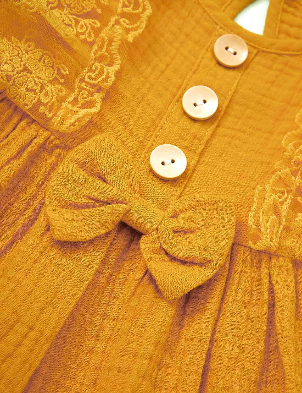 Baby Girl Clothes Ruffle Floral Short-Sleeves Brown Dress Headband 2 Pcs Set Baby Girl Clothes