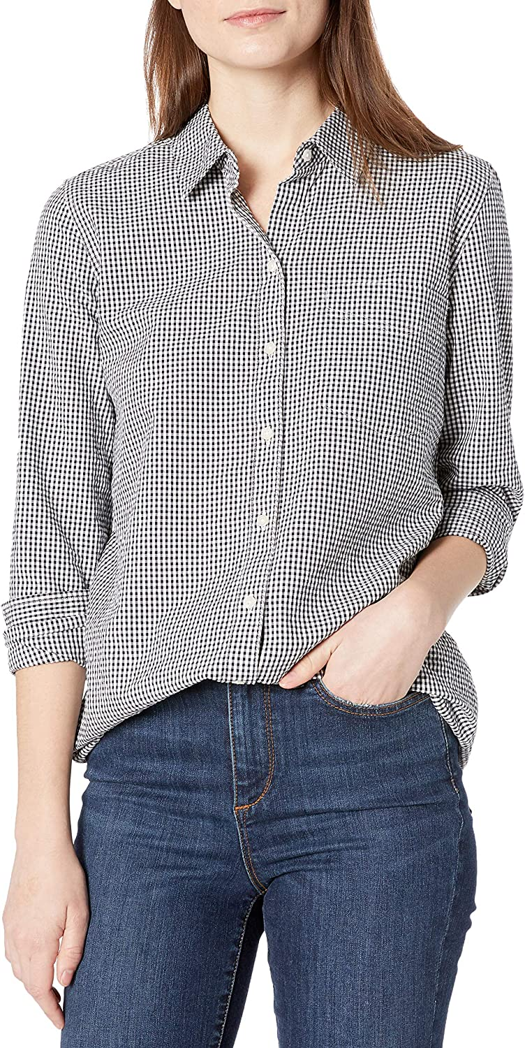 Amazon Limited time Tampa Mall trial price Brand - Goodthreads Women's Button Sleeve Seersucker Long