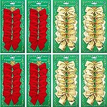 Shappy 48 Pezzi Festival Archi di Decorazione Natale Archi del Nastro Ornamenti per Albero di Ghirlande di Natale Anno Nuovo Decorazione, Rosso e Oro (75 mm)