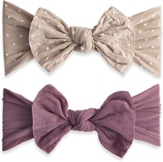 Bows 2 Pack - Girls Shabby Dot and Classic Knot Headbands Made in USA