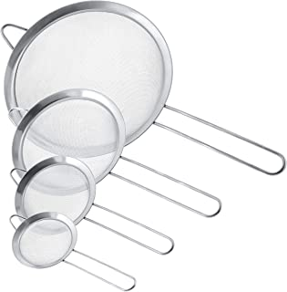 U.S. Kitchen Supply – Set of 4 Premium Quality Fine Mesh Stainless Steel Strainers..