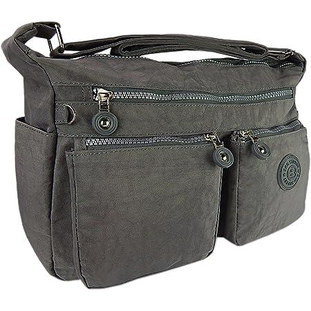 Bag street hochwertige Damenhandtasche aus Crinkle Nylon Schultertasche Sportliche Umhängetasche (Grau)