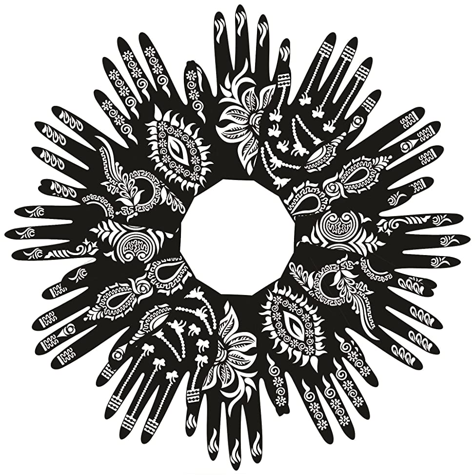 PARTH IMPEX Henna Tattoo Stencils (Pack of 12) Self Adhesive Beautiful Body Paint Art Designs Temporary Mehndi Drawing Hand Template