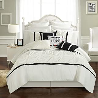 Chic Home Ashville 16 Piece Bed in a Bag Comforter Set, Queen, White