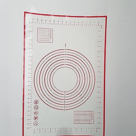 Tapis de Cuisson en Silicone Anti-adhésif Tapis de Pâte avec Mesures - 60 x 40 cm avec Grattoir Cadeau