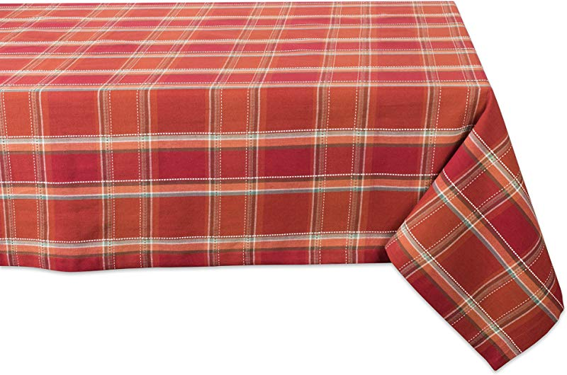 DII CAMZ10884 Cotton Tablecloth Perfect For Autumn Thanksgiving Catering Events Dinner Parties Special Occasions Or Everyday Use 60x104 Spice Plaid