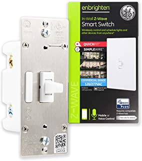GE Enbrighten Plus Smart Switch with QuickFit and SimpleWire, in-Wall Toggle Commercial Grade 120/277 VAC, Z-Wave Hub Required, Works with Ring, SmartThings, Alexa, 43074, White