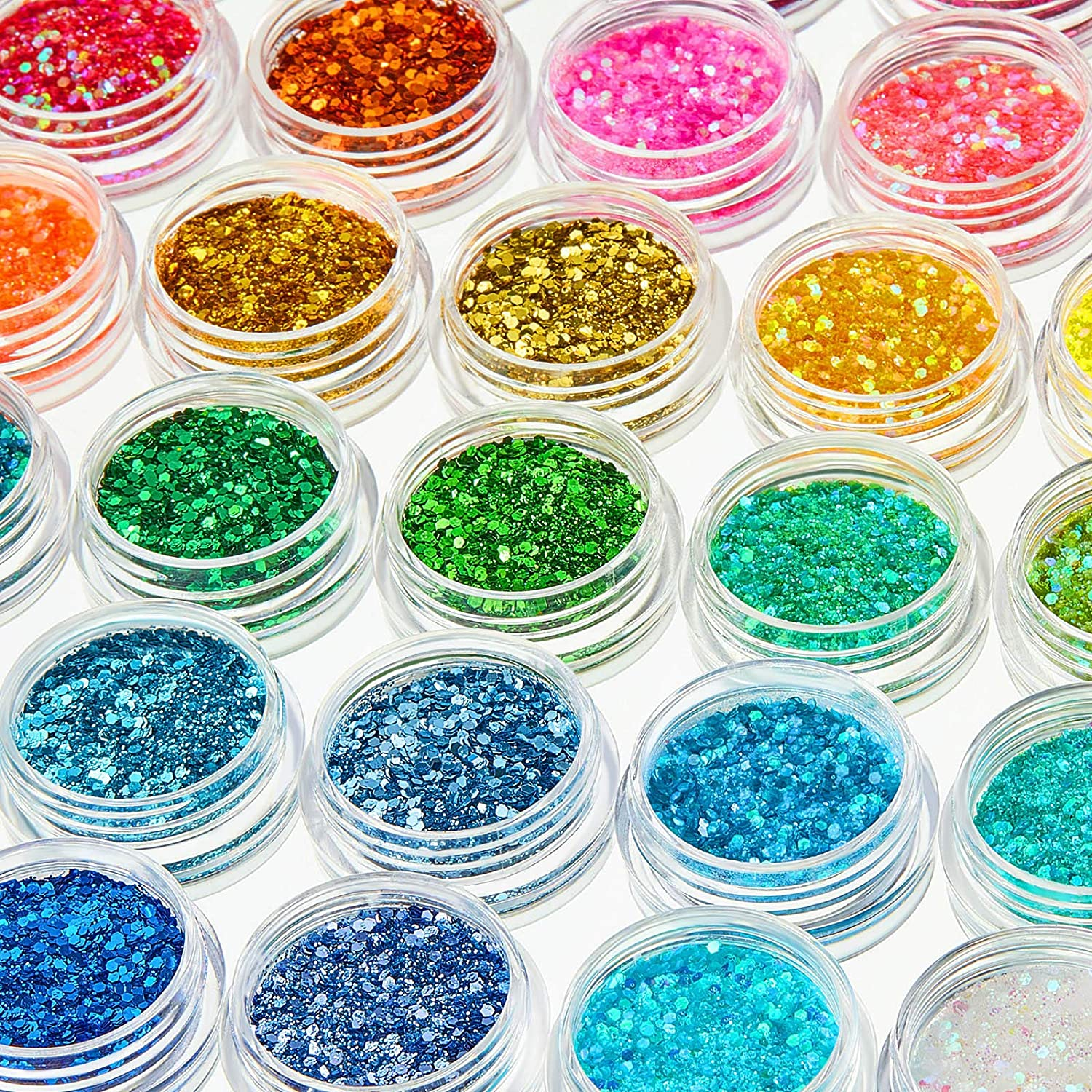 36 Boxes Chunky Glitter Nail Sequins Holographic Chunky Glitter Sequins Cosmetic Laser Iridescent Festival Powder Sequins Craft Glitter Nail Decor for Face Eye Hair Nail Art Design, 36 Colors