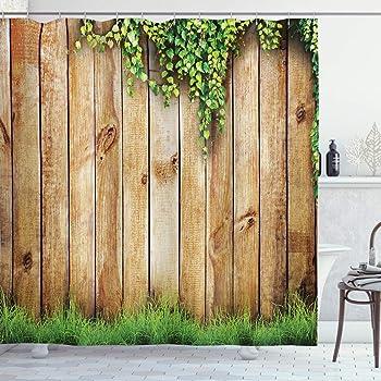 ABAKUHAUS Rústico Cortina de Baño, Cerca de Madera del jardín, Material Resistente al Agua Durable Estampa Digital, 175 x 200 cm, Verde marrón: Amazon.es: Hogar