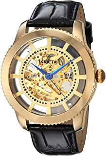 Invicta Men's Vintage Stainless Steel Automatic-self-Wind Watch with Leather Calfskin Strap, Black, 22 (Model: 23638)
